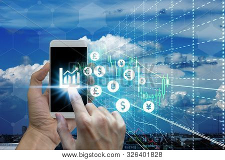 Businessman Touch Samrtphone Network Using Currency Icon Technology With Virtual Screen Icons, Inves