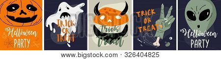 Halloween Backgrounds Collection. Helloween Greeting Card And Poster, Party Sign. Concept Illustrati