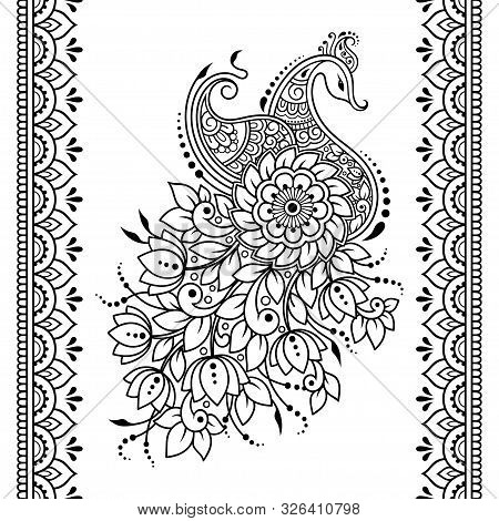 Set Of Mehndi Flower, Peacock Pattern And Seamless Border For Henna Drawing And Tattoo. Decoration I