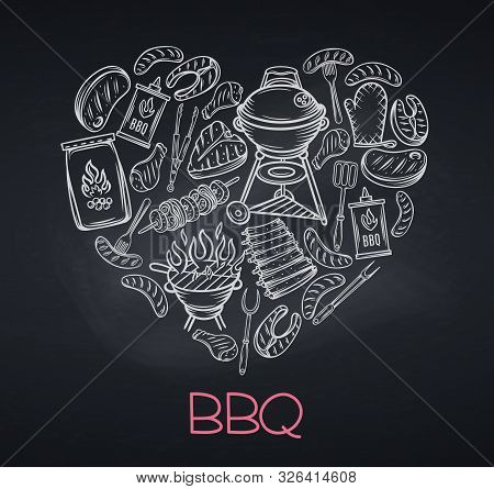 Vector Bbq Party Template With Hand Drawn Meat, Chicken, Fish, Sausage And Tools. Barbecue Banner. B