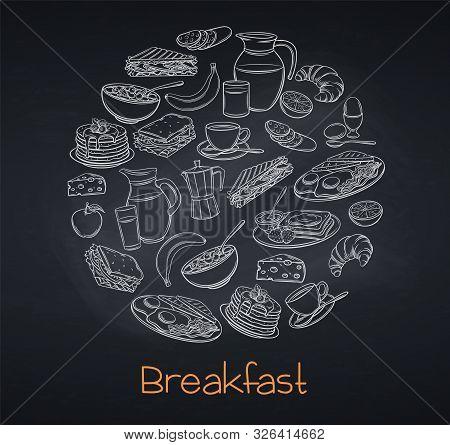 Breakfast And Brunch Vector Illustration, Blackboard Style. Breakfast Banner With Yogurt, Milk, Cott