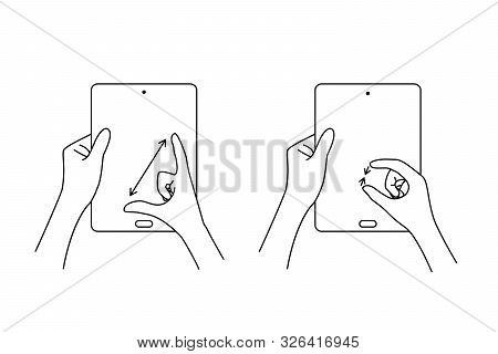 Multi Touch Hand Gestures For Tablet. Concept Of Increase Or Decrease The Picture And Zooming Or Unz