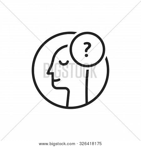 Doubt Logo With Thin Line Man. Stroke Style Trend Modern Simple Person Imagine Logotype Graphic Art
