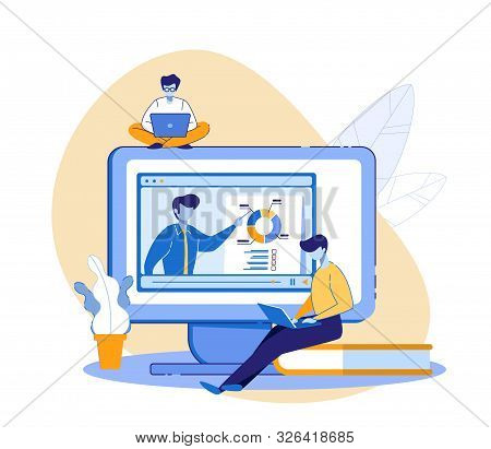 Student And Teacher Communication Online. Distance Learning. E-learning Lesson Or Training Studying