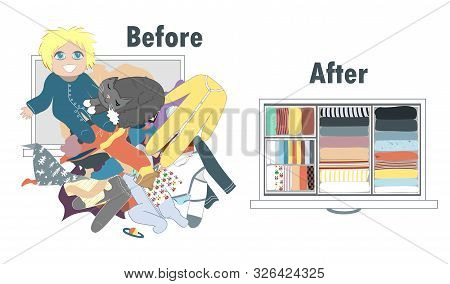 Before And After Tidying Up Baby Kids Wardrobe In Drawer. Messy Clothes And Nicely Arranged Clothes