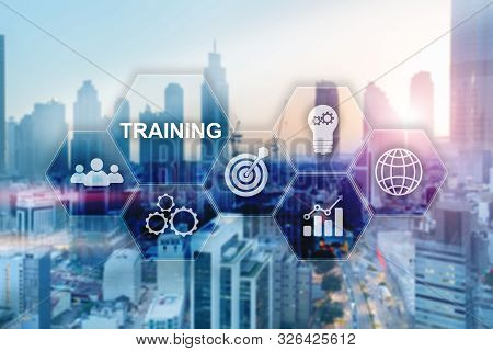 Training On Virtual Screen. Inscription On Blurred Office Background.