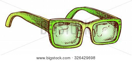 Glasses Vision Correction Accessory Retro Vector. Rectangular Optical Diopter Glasses For Reading. M