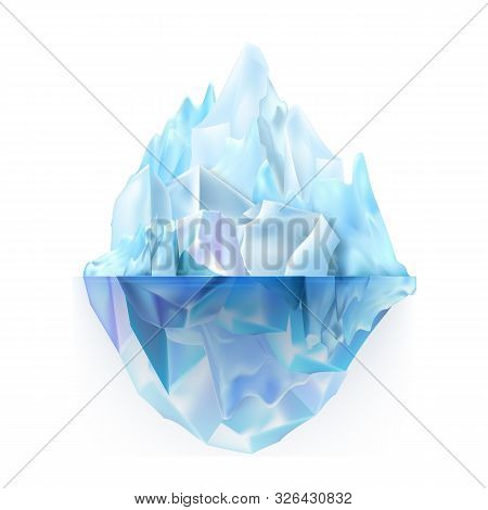 Glacier Icy Rock Floating On Sea Water Vector. Beautiful Frosty Glacier Aqua Antarctica Climb With U