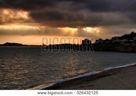 Beautiful Sunset on the beach in Isla Plana, Cartagena, Murcia,Spain. poster