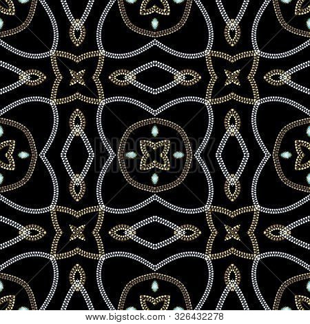 Zippers Seamless Pattern. Vector Ornamental Ornate Background. Gold And Silver Textured Abstract Orn