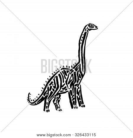 Ancient Extinct Jurassic Brachiosaurus Dinosaur Vector Illustration Ink Painted, Hand Drawn Grunge P