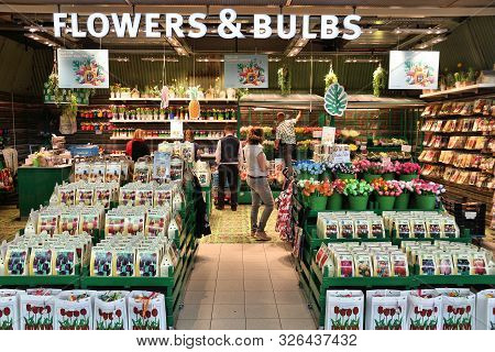 Amsterdam, Netherlands - July 11, 2017: Tulip Flowers And Bulbs Store At Schiphol Airport In Amsterd