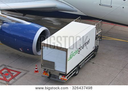 Amsterdam, Netherlands - July 11, 2017: Gate Gourmet Food Catering Truck At Schiphol Airport In Amst