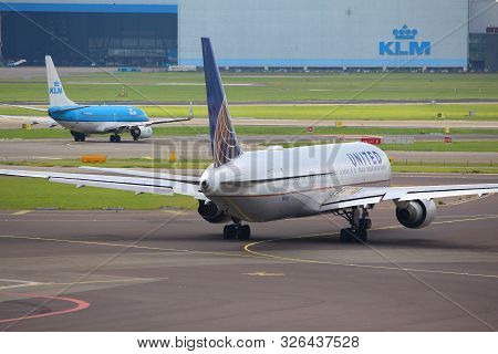 Amsterdam, Netherlands - July 11, 2017: United Airlines Boeing 767-300 At Schiphol Airport In Amster