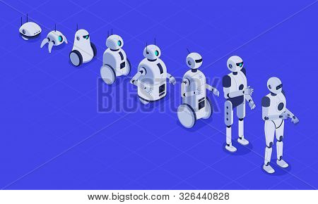 Isometric Evolution Of Robots. Progress In Robotics, Futuristic Robotic Machines And Robot Android D