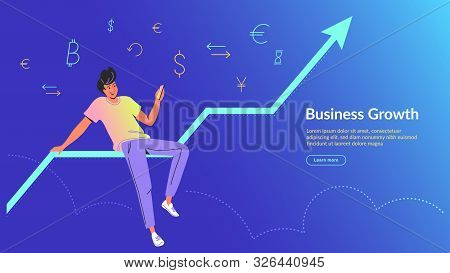 Man Using Mobile App For Online Banking And Business Growing. Concept Vector Illustration Of Man Sit