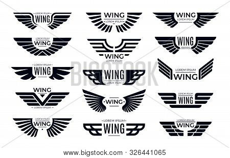Wings Badges. Flying Emblem, Eagle Bird Wing And Winged Frame. Aviation Pilot Patch Badge, Army Insi