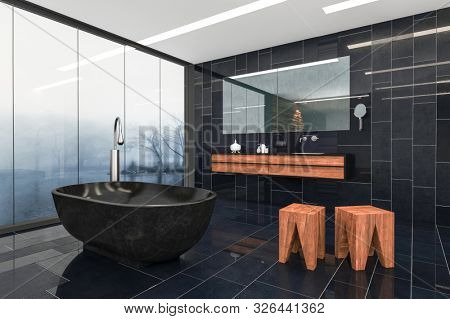 Modern luxury dark grey tiled bathroom interior with freestanding oval tub, wood feature stools and large view window overlooking a misty landscape. 3d render