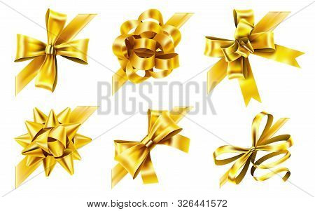Decorative Corner Bow. Golden Favor Ribbon, Yellow Angle Bows And Luxury Gold Ribbons. Birthday Or X