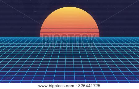 1980s Retro Futuristic Background. Retro Sunset With Laser Grid. Cyberpunk, Synthwave, Vaporwave, Re