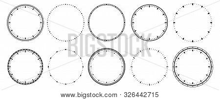 Clock Faces. Vintage Clocks Bezel, Seconds Timer And 12 Hours Watch Round Scale. Clocks Frames Silho
