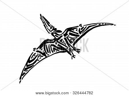 Ancient Extinct Jurassic Pterodactyl Dinosaur Vector Illustration Ink Painted, Hand Drawn Grunge Pre