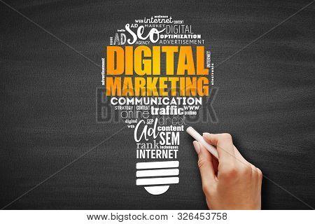 Digital Marketing Light Bulb Word Cloud, Business Concept On Blackboard