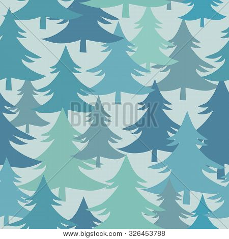 Winter Fir Trees  Christmas Trees Seamless Pattern, Winter Forest Surface Pattern, Fir Trees Vector