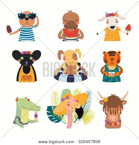 Big Set With Cute Animals Doing Summer Activities. Isolated Objects On White Background. Hand Drawn