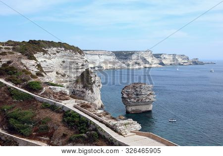 View From Bonifacio Town And The Rocks Called Grain Of Sand Of U Diu Grossu In Corsican Language In