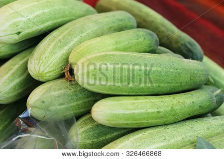 Fresh Cucumbers For Cooking In The Market