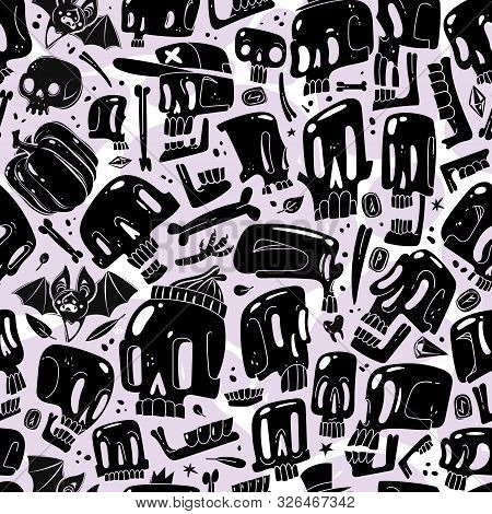 Cartoon skull seamless pattern. Seamless pattern of black cartoon skulls different proportions game imbalances characters variations fashion cute hipster collection stickers prints poster