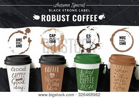 Realistic Coffee Cup Poster. Horizontal Poster With Different Types Of Coffee In Cardboard Cups To T