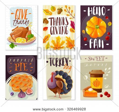 Thanksgiving Day Cards. Set Of Six Vertical Card Posters Thanksgiving Day Cartoon Style Isolated Obj