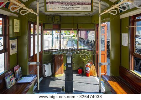Lowell, Ma, Usa - Sep. 2, 2018: New Orleans Streetcar #966 Inside At National Streetcar Museum On Du
