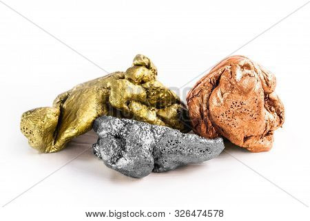 Group Of Precious Stone Gold Silver Bronze On White Background, Rough Stones, Mining And Valuable St