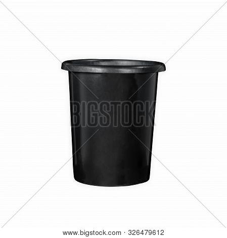 Black Plastic 5 Gallons Waste Bin Garbage Disposal In White Background