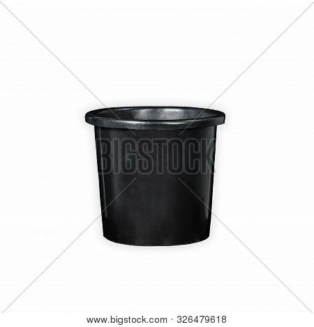 Black Plastic 3 Gallons Waste Bin Garbage Disposal In White Background