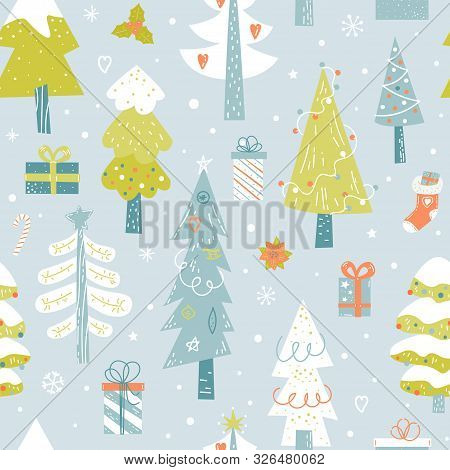 Christmas Trees Hand Drawn Seamless Vector Pattern. Color Fir Trees, Gifts, Plants And Snowflakes. W