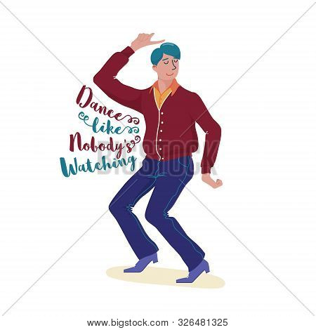 Funky Young Man In Cardigan, Pants And Shoes Dancing Happily With Closed Eye And Dance Like Nobody I