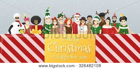 Merry Christmas And Happy New Year, Group Of Teens In Christmas Costume Concept Standing Together In