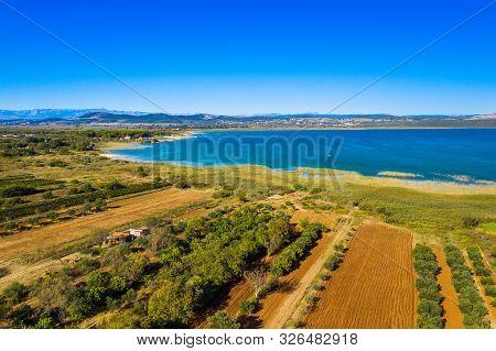 Beautiful nature park Vransko lake, ornithological reservation in Dalmatia, Croatia poster
