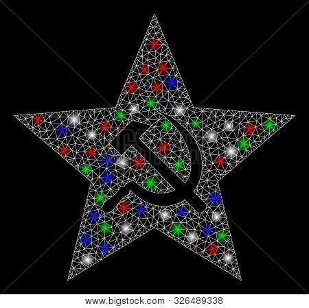 Bright Mesh Communism Star With Lightspot Effect. White Wire Carcass Triangular Mesh In Vector Forma