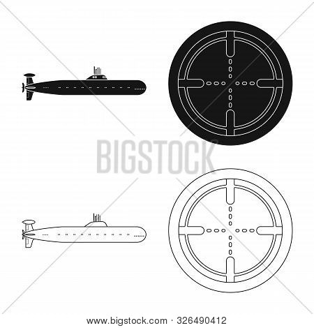 Vector Design Of War And Ship Symbol. Collection Of War And Fleet Stock Symbol For Web.