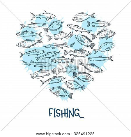 Fish Banner. Seafood Design Template With Bream, Mackerel, Tunny Or Sterlet, Codfish And Halibut. Ou