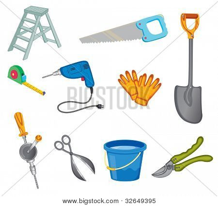Illustrated set of common tools - EPS VECTOR format also available in my portfolio.
