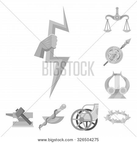 Vector Design Of Ancient And Culture Logo. Collection Of Ancient And Antique Stock Symbol For Web.