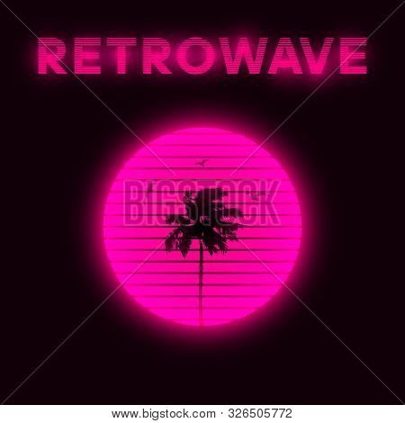 Synthwave Style Striped Pink Sun With Silhouette Of Miami Palm Tree And Seagulls. Miami Aesthetics.