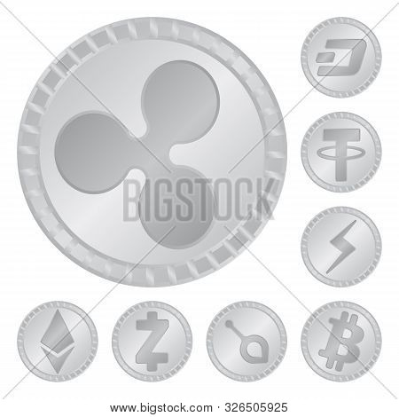 Isolated Object Of Cryptography And Finance Icon. Set Of Cryptography And E-business Stock Symbol Fo
