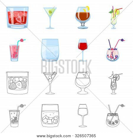 Isolated Object Of Liquor And Restaurant Logo. Set Of Liquor And Ingredient Vector Icon For Stock.